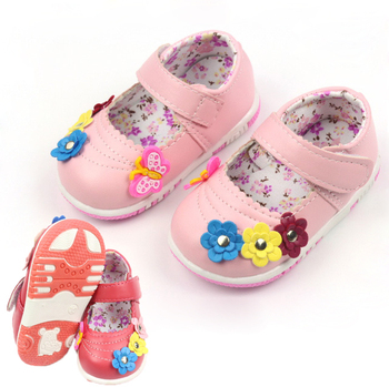 2016 baby girl's shoe Toddler Shoes Fashion baby Flowers shoes soft bottom lovable flowers Leather shoe 10.5-12.5cm