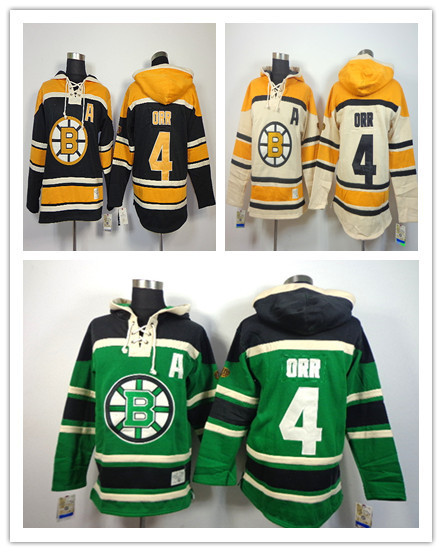 Retail Factory Price Free Shipping 2014 New Old Time Hockey Jerseys Boston Bruins 4 Bobby Orr Fleece Hoodie Jerseys Embroidery L(China (Mainland))