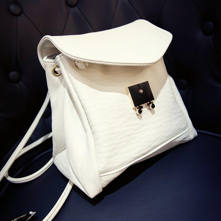 Yeni moda kadınlar kız sevimli pu deri sırt çantası basit kampüs öğrenci okul çantası sırt çantası beyaz/siyah(China (Mainland))