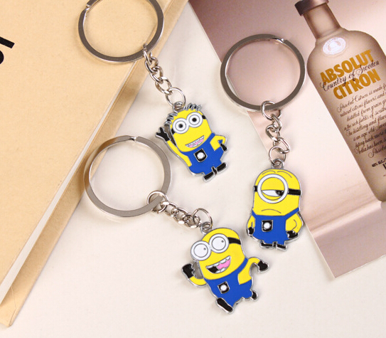 Hot-sale European Personality Stainless Despicable Me Minions Key Chain Brand Funky Promotions Key Garment Trendy Christmas Gift(China (Mainland))