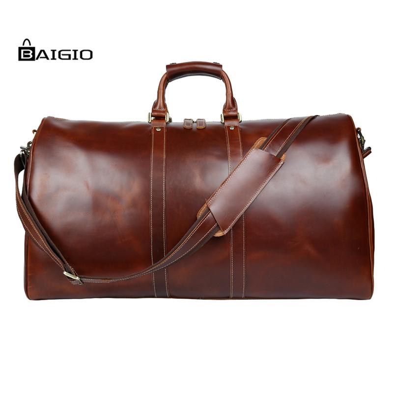 Baigio Men Travel Bags Leather Weekende Duffle Bag Vintage Brown Designer Travel Overnight Tote Large Hand Luggage Shoulder Bag(China (Mainland))