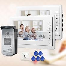 """Envío gratis a estrenar 7 """" Home vídeo portero sistema de teléfono con 2 Monitor en blanco + 1 RFID Card Reader puerta cámara venta al por mayor(China (Mainland))"""