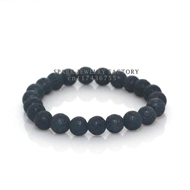 8mm Lava Stone Bracelet Bangles Elastic Cord Natural Stone Friendship Bead Bracelet for Women and Men(China (Mainland))