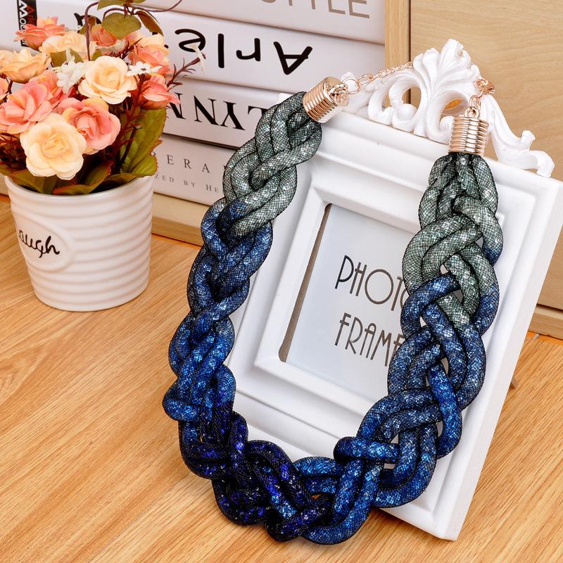 European Fashion Women Accessories Necklace 2016 Massive Gradient Color Handmade 5 Strands Mesh Chain Stardust Necklace(China (Mainland))