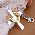P094 Promotions Free shipping Beautiful fashion Elegant charm heart golden cross pendant pretty Necklace silver plated