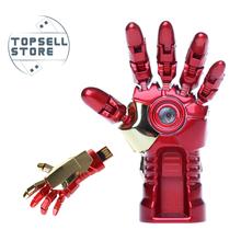 Hero iron man hand LED light 4gb 8gb 16gb 32gb 64gb memory stick pendrive pen drive usb flash drive with h2testw free shipping