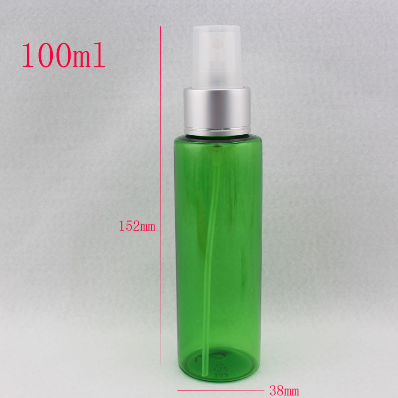 100ml luxury plastic green Bottle with aluminum spray pump , 100cc empty PET Cosmetic Packaging bottle spray ,3.5oz container(China (Mainland))