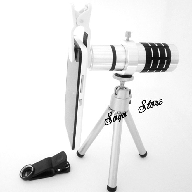 Universal 12x Zoom telephoto Phone Lens Lente Telescope Monocular with Clip For iPhone samsung HTC