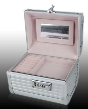 200*150*150mm,2014 Professional Portable Alumimum PVC Coded lock Cosmetic box, Makeup Case, Beauty Organizer w/ mirror