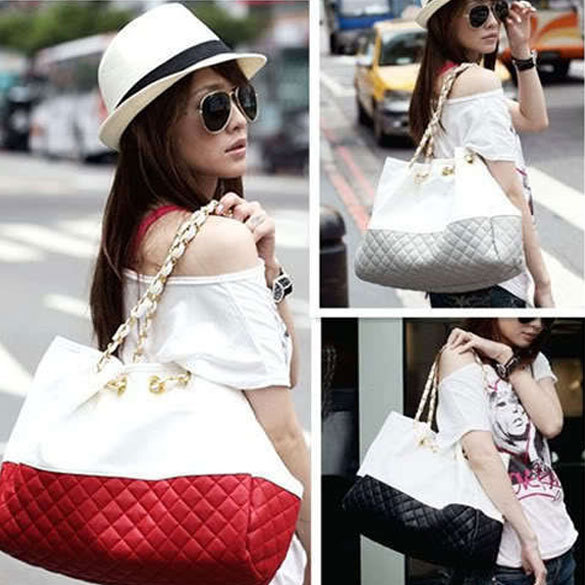 Fashion Ling Plaid Double Woven Chain Women Shoulder Bag Hand Bag durable PU leather Free Shipping(China (Mainland))