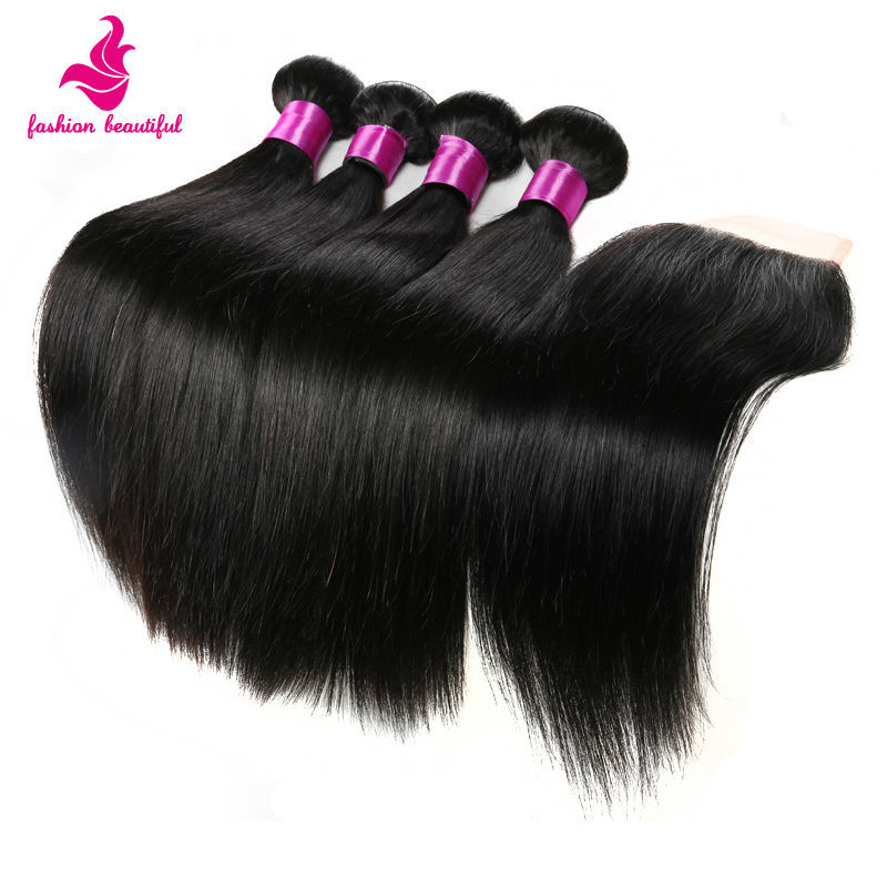 product Malaysian Virgin Straight Hair With Closure 6A Malaysian Virgin Hair 5Bundle Human Hair Free Part  Lace Closure With Bundles