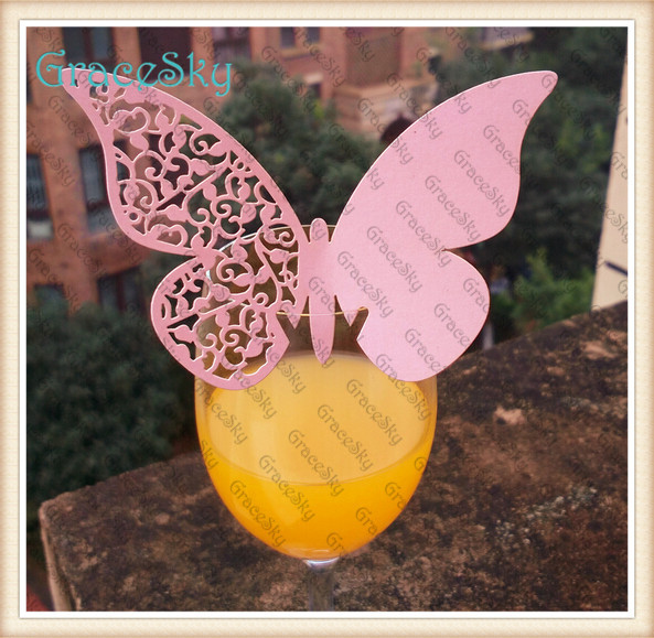 60PCS Laser Cut Butterfly Place Card Wedding Butterfly Cards Wine Glass Escort Place Card Paper Card(China (Mainland))