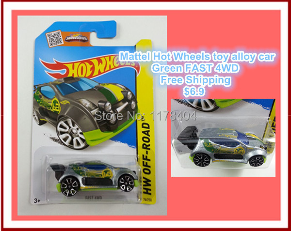 Free Shipping car model, 1:64 alloy car toys, children's toys, Hot Wheels NO.68 Green FAST 4WD rally(China (Mainland))