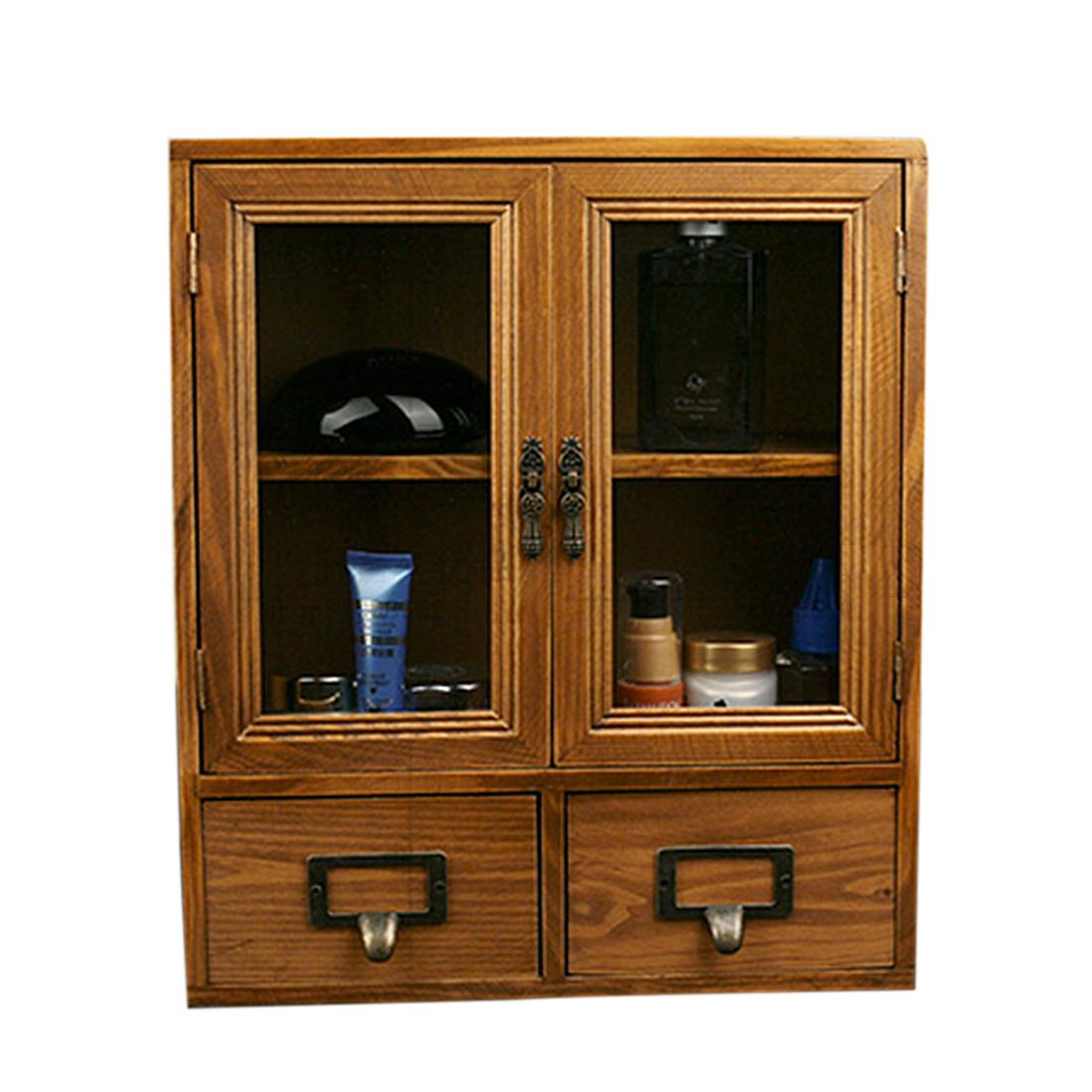 Retro Design Wooden Zakka Storage Chest Cabinet with Glass Door and Bottom 2 Drawers/Jewelry/Perfume Bottle Organizer - Yellow(China (Mainland))