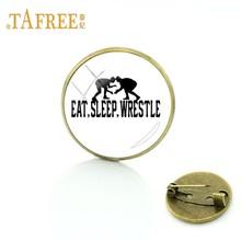 TAFREE Semplice modello di I love Wrestling Spille cabochon in vetro charms fatti a mano arte retro per le donne Distintivo Spilli gioielli WR29(China)