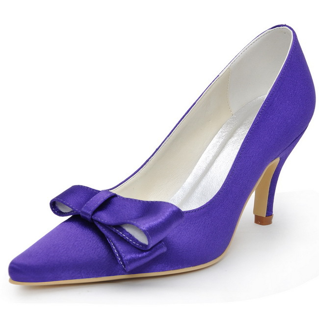 2014 New Arrival EP2134 Pointed Toe Cutouts Bow Satin Cone Heel Prom Pumps Elegant Womens High Heel Shoes<br><br>Aliexpress