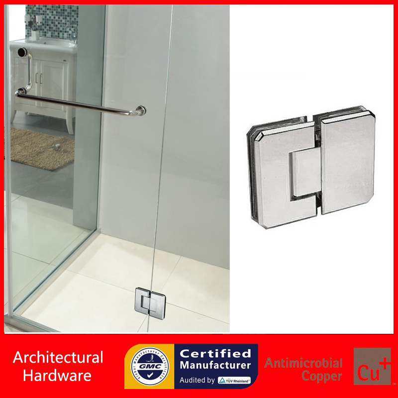 180 Degree Shower Door Hinge Pure Copper Spring Hinges Glass Clamp DC-3045 Glass to Glass Fitting(China (Mainland))