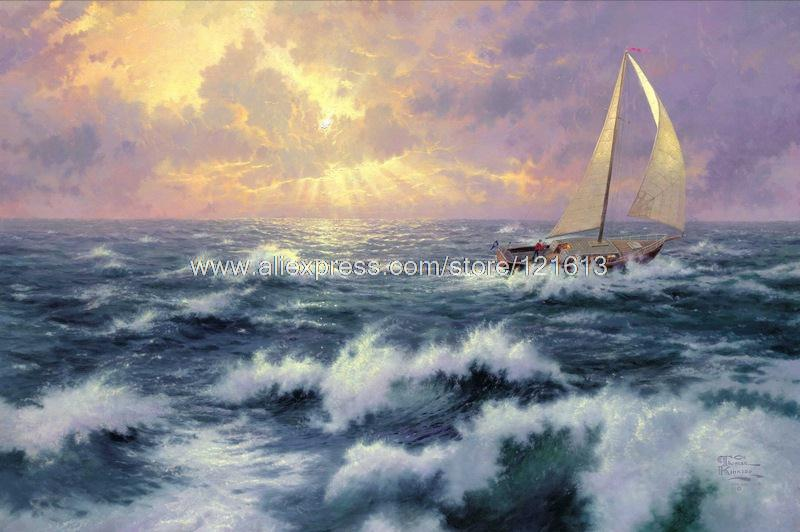 Thomas kinkade prints of oil painting Perseverance seascape painting hotel office Home decor Lighthouses painting(China (Mainland))