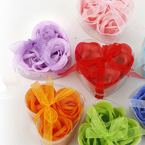 3 PCS Bath Body Heart Rose Petal Wedding Gift Favor Colors Flower Soap #23163(China (Mainland))