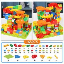 2019 New 165Pcs-330PCS Marble Race Run Maze Balls Track Building Blocks Funnel Slide Building Brick Compatible legoingly bricks(China)