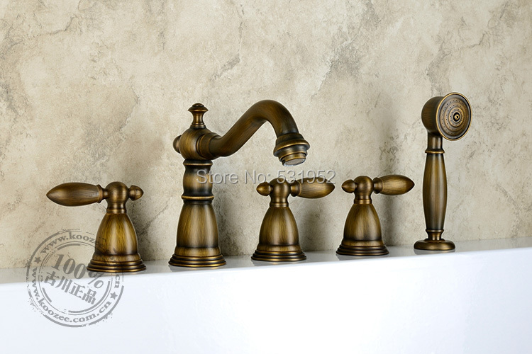 Free shipping Wall Mounted Antique Bronze Bathtub Faucet Double Handle antique Brass Mixer Tap Bath & Shower Faucets Wholesale(China (Mainland))