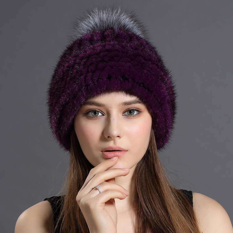 2016 New Mink fur Knitted Hats with fox fur ball High Quality Earflap Hat Women Winter Warm Solid Caps Casual Trendy Headwear(China (Mainland))