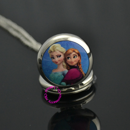 silver blue 2 two cute cartoon sister Elsa Anna pocket watch necklace woman girl lady child new fashion hot gift antibrittle - Chic Watches store