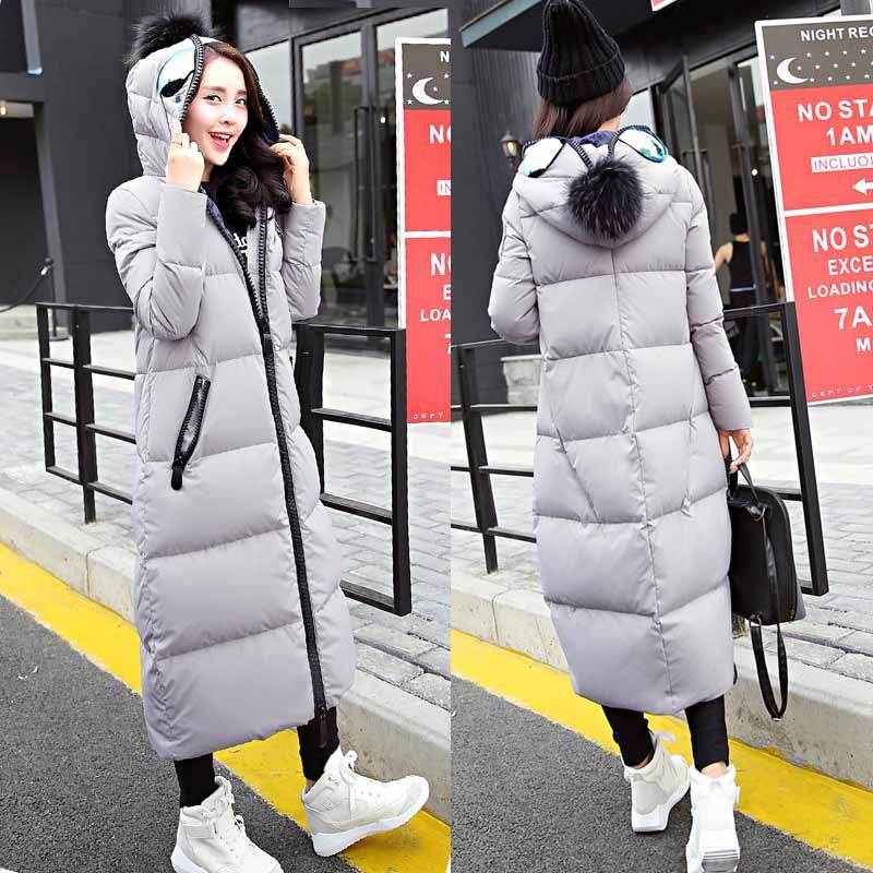 Скидки на 2016 Новая мода женские Зимние пальто с длинным рукавом Воротник Вниз x-длинные Теплая Зимняя Куртка