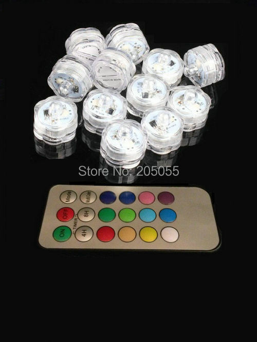 10pcs/lot Remote controlled Floralyte Submersible Vase led tea Light tealight Candle lamp w/controller color change-multicolor(China (Mainland))