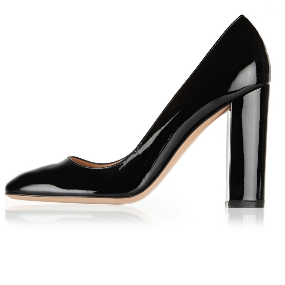 Thick Heel Shoes Closed Toe