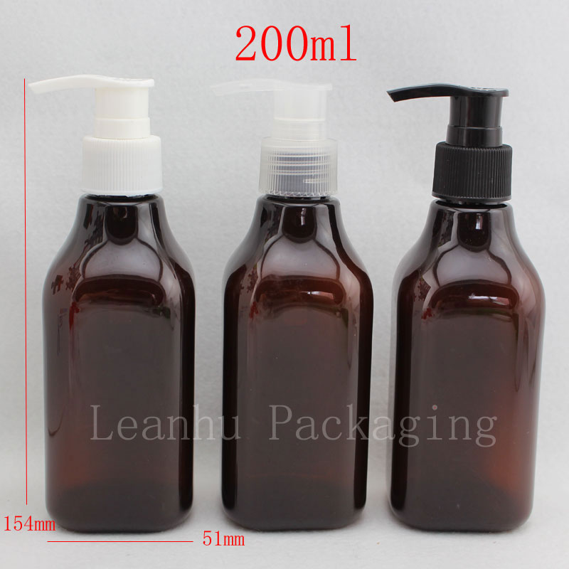 200ml X 24 brown square empty plastic bottles with lotion pump ,200cc cosmetic packaging PET bottle for personal care wholesale(China (Mainland))