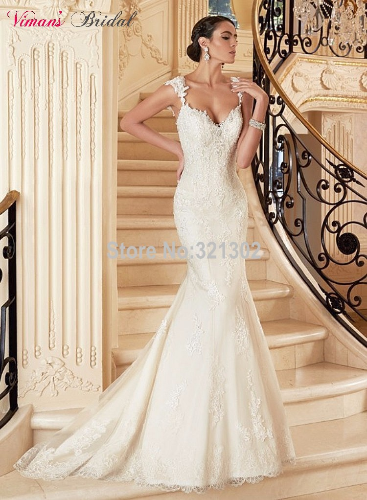 Buy 2015 free shipping lace mermaid for White fishtail wedding dress