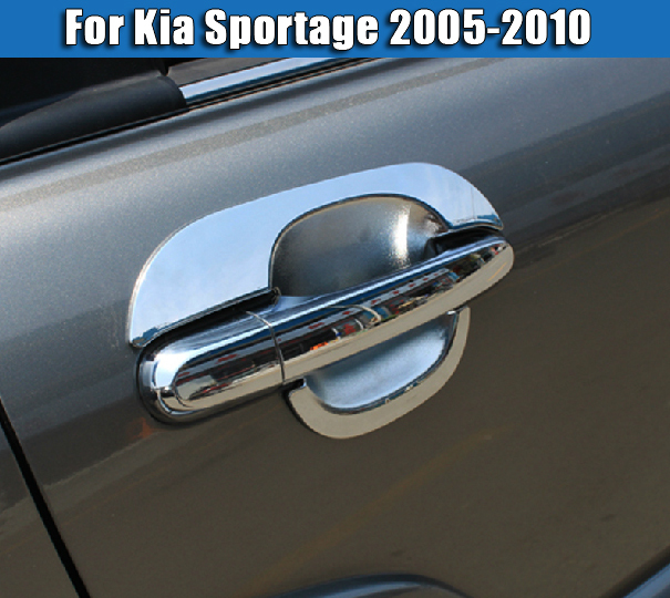 Chrome Car Styling Side Door Handle + Bowl Cover KIA Sportage 2nd Gen 2005 2006 2007 2008 2009 2010 - Auto Parts & Accessories store