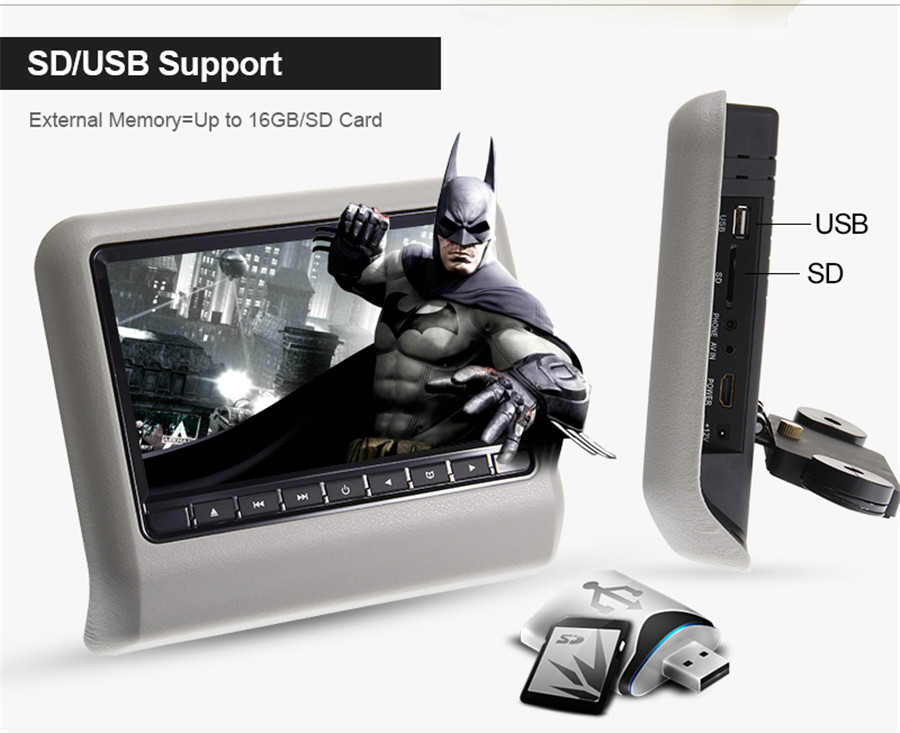 "10.6"" HD Digital LCD Screen Car Headrest pillow Monitor DVD/USB/SD video Player HDMI 1080p sony lens IR/FM Game auto monitor"