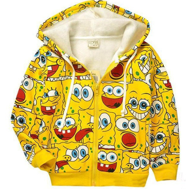 Розничная 1 шт.! новый 2015 детский мультфильм куртки детские и дети SpongeBob толстые Толстовки кофты девушки Теплые мальчики пальто верхняя одежда