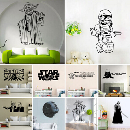 Movie star wars wall stickers yoda death star wall decals for Star wars kids room decor