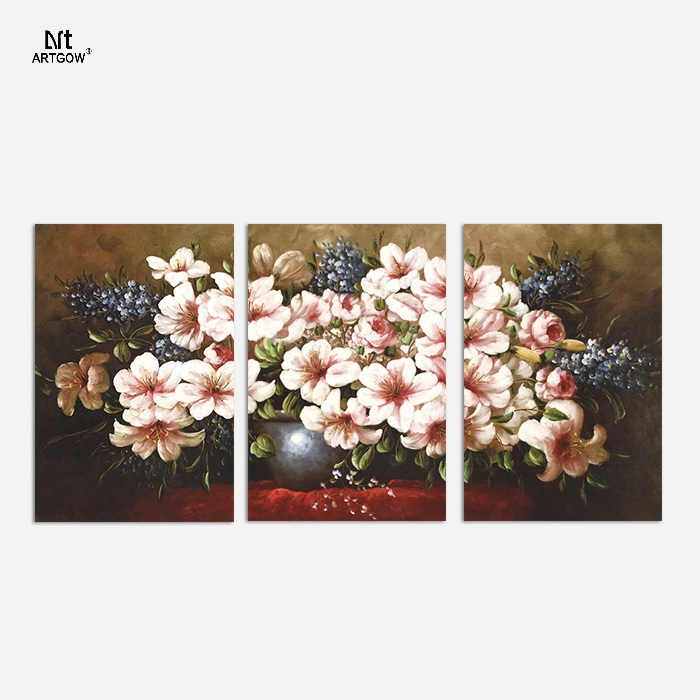 Luxurious Retro 3 pcs for living room Decoration Flower arrangement Canvas Printed Painting wall Hanging home decor unframed(China (Mainland))
