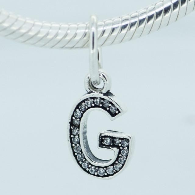 Подходит пандоры подвески браслеты подлинная стерлингового серебра 925 бусины лаки мотаться письмо G с ясно CZ шарм DIY ювелирных изделий