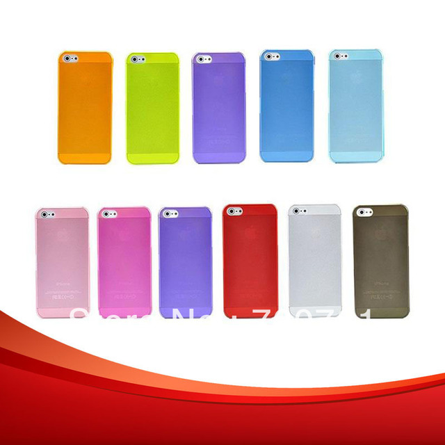 2pcs/lot Transparent 0.5mm Colorful Ultra Thin Slim Crystal Frosted Hard Cases Covers Shell For iPhone 5 Free Shipping