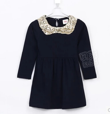 2015 new design spring little girls floral sequined collar solid color long sleeve cute dress A1454(China (Mainland))