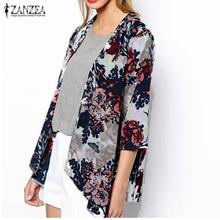 Buy ZANZEA 2017 Fashion Womens Boho Kimono Cardigan Shawl Chiffon Flower Printed Blouses Ladies Tops 3/4 Sleeve Cover Ups S-6XL for $5.97 in AliExpress store