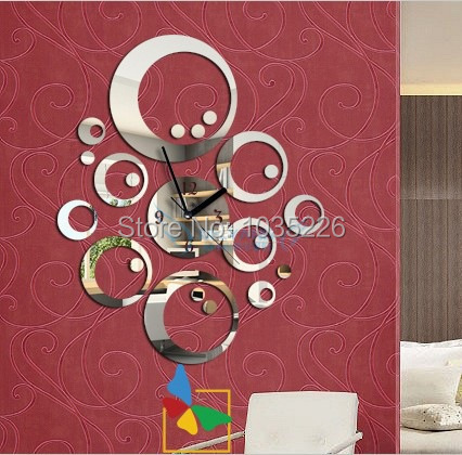 2014 DIY mirror wall art clocks 3D home decoration stickers unique watch novelty households decor