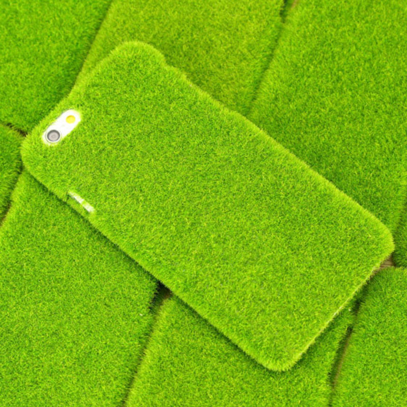 Newest Plush Fresh Japan Simulation Green Grass Lawn Anti-knock Shockproof Phone Case Capa for Iphone 6 6 Plus, Drop Shipping(China (Mainland))
