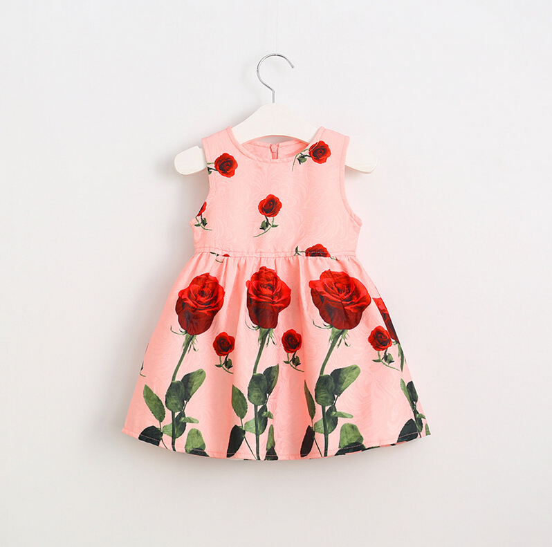 Baby Girl Rose Pattern Vest Dresses, Princess Kids Fall Boutique Printed Dress Wholesale 6 pcs/lot,(China (Mainland))