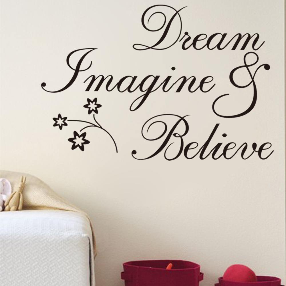 free shipping inspirational words dream believe removable