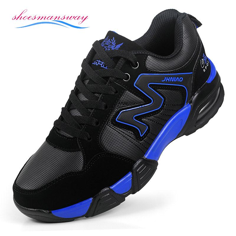 Light Air Cushion Breathable and Waterproof Sport Shoes For Men Size 39 to 44 Color Black Blue, Black Red(China (Mainland))