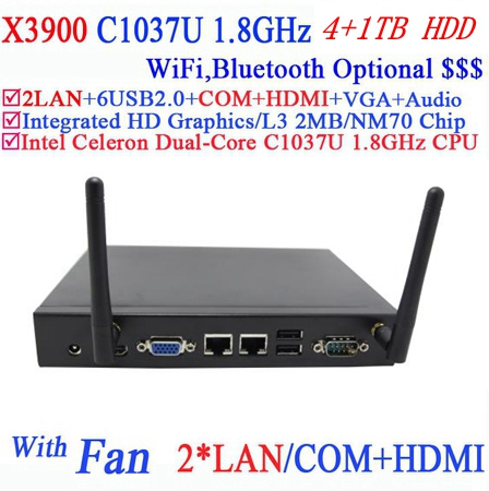 best small pc with fan 2 RJ45 HDMI COM C1037U dual core 1.8Ghz 4G RAM 1TB HDD Windows or Linux 3D API support DirectX 11(China (Mainland))