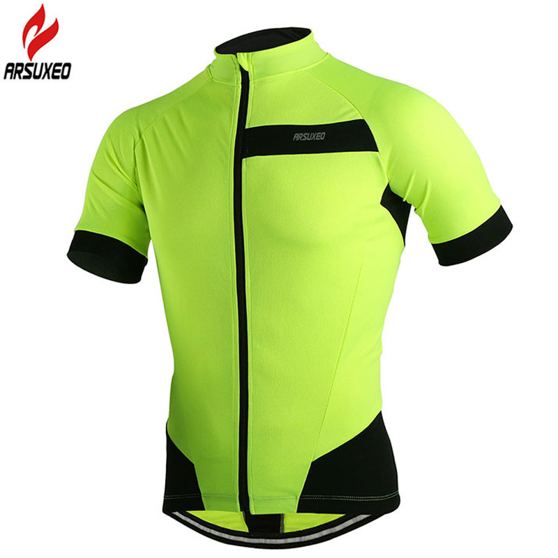 2016 ARSUXEO Reflective Spring Summer Outdoor Sports Cycling Jersey Bicycle Short Sleeves MTB Clothing Shirts Wear Bike Jersey(China (Mainland))