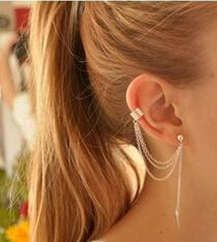 2015 European and American foreign trade selling fashion personality tassel earrings ear earrings wholesale metal blade<br><br>Aliexpress