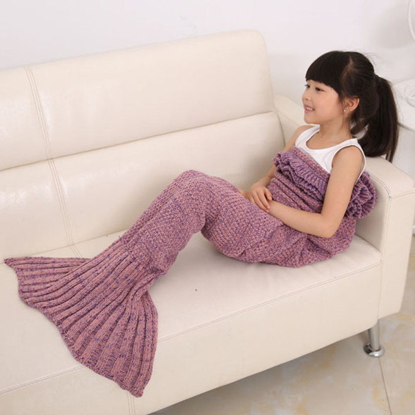 Happy Gifts High Quality Four Colors Knitted Mermaid Tail Blanket Handmade Crochet Children Throw Bed Wrap Sleeping Bag(China (Mainland))